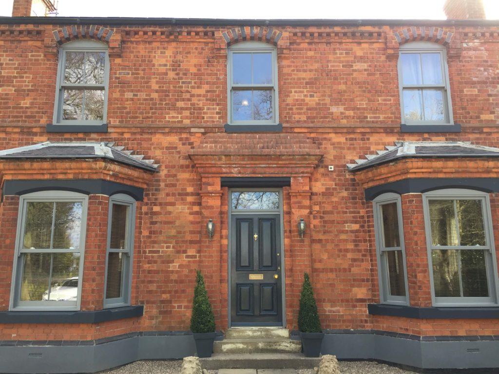 Timber sash windows on a house
