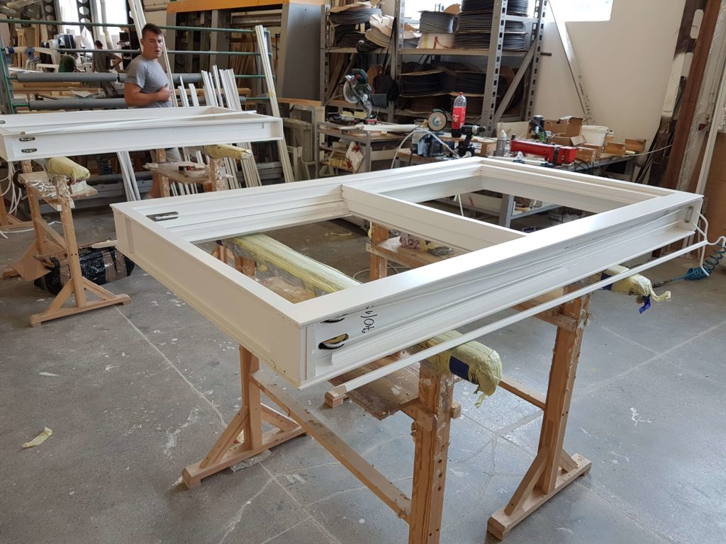 Timber sliding sash window in our factory