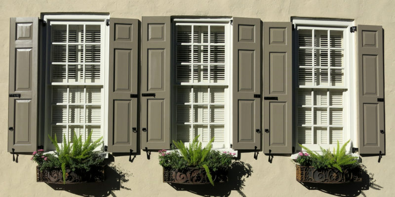 Windows with external shutters