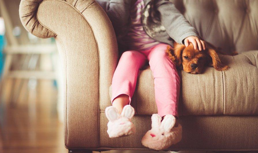 Girl sat on sofa with dog