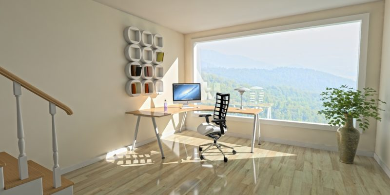 Spacious room with a large window