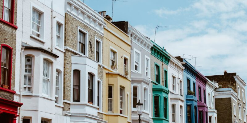 row of Victorian houses in London with Victorian sash windows